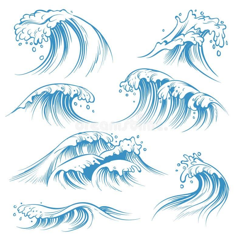 Hand drawn ocean waves. Sketch sea waves tide splash. Hand drawn surfing storm wind water doodle vintage elements royalty free illustration