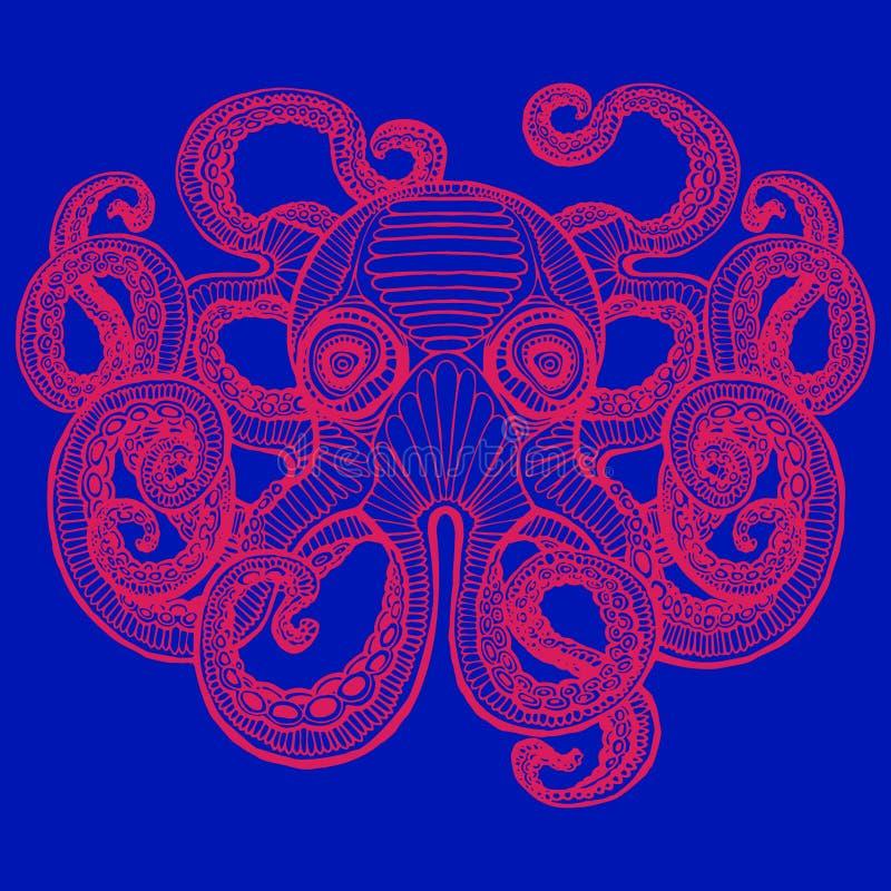 Hand drawn octopus. Giant Octopus - Sea Monster. Vintage hand drawn illustration royalty free illustration