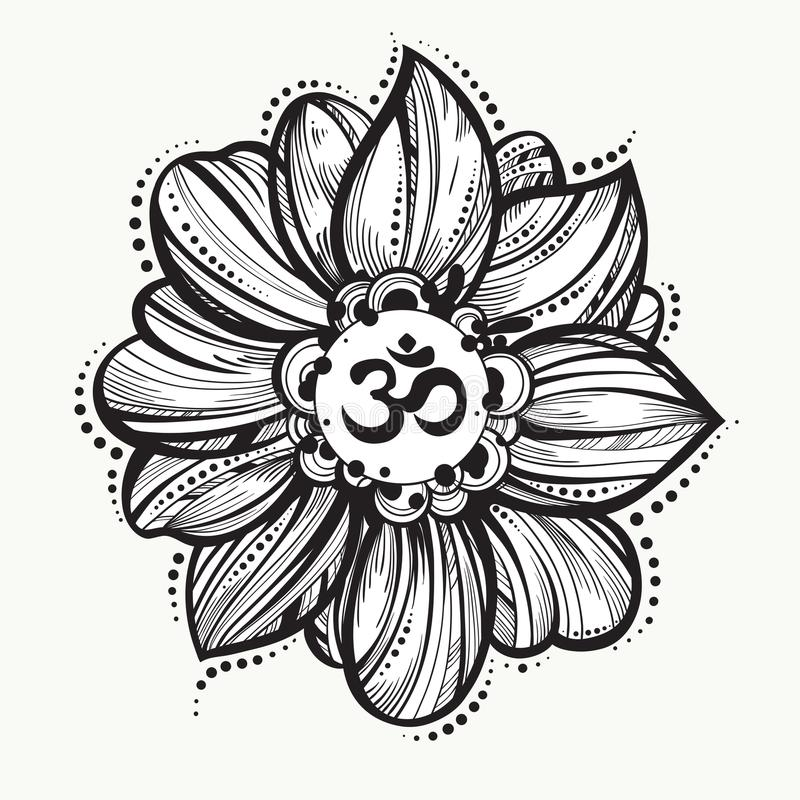 Hand drawn Ohm symbol, indian Diwali spiritual sign Om. Lotus flower around. High detailed decorative vector illustration. royalty free illustration