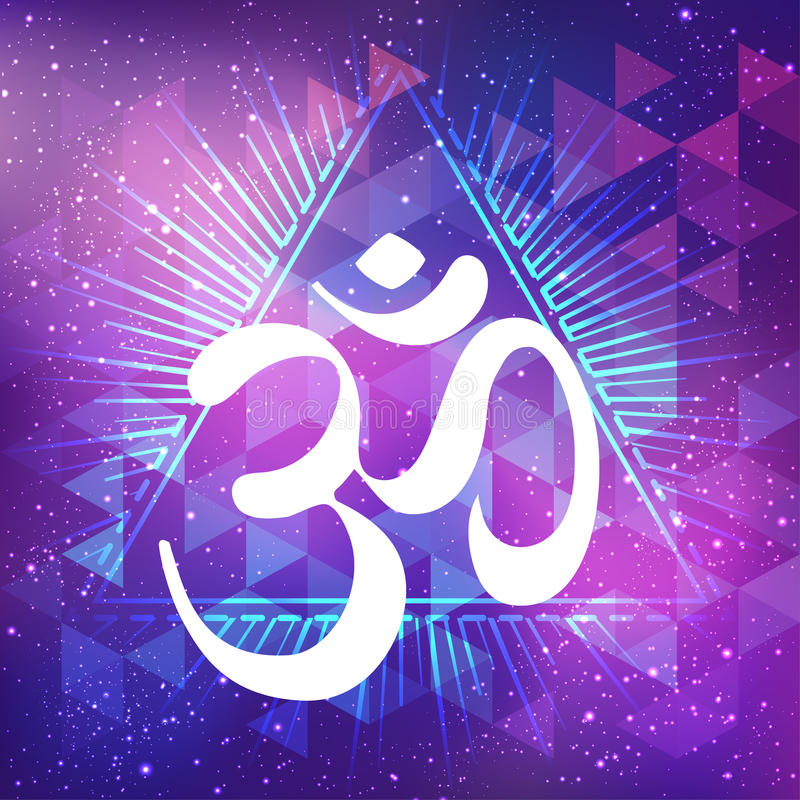 Hand drawn Ohm symbol, Indian Diwali spiritual sign Om over abstract cosmic background with stars. Vector illustration. royalty free illustration