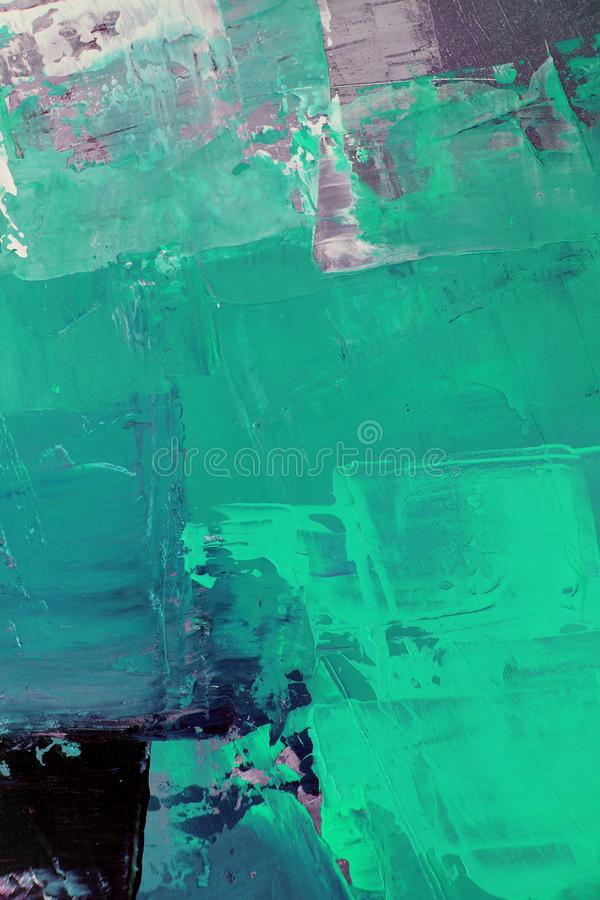 Green colors on canvas.Oil painting. Abstract art background. Oil painting on canvas. Color texture. Fragment of artwork. stock illustration