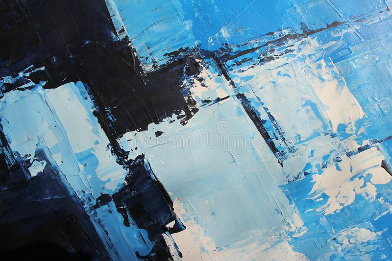 Blue bright colors on canvas.Oil painting. Abstract art background. Oil painting on canvas. Color texture. Fragment of artwork. royalty free stock photography