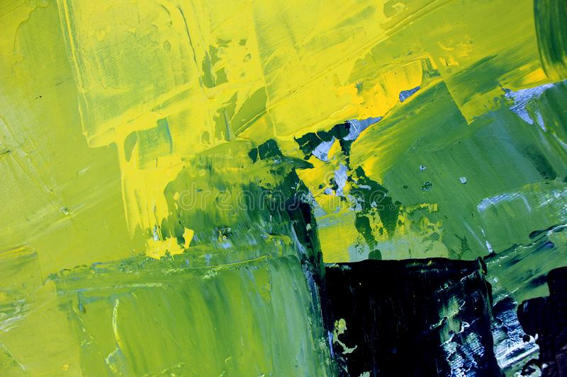 Green juicy oil painting. Abstract art background. Oil painting on canvas. Color texture. Fragment of artwork. Hand drawn oil painting. Abstract art background stock illustration