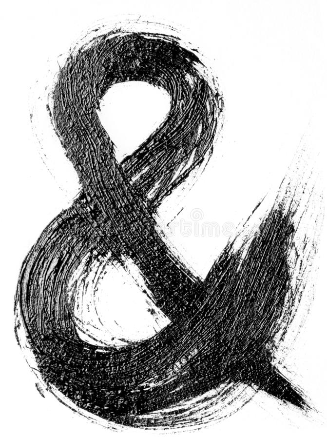 Hand drawn oil painting ampersand for your design vector illustration