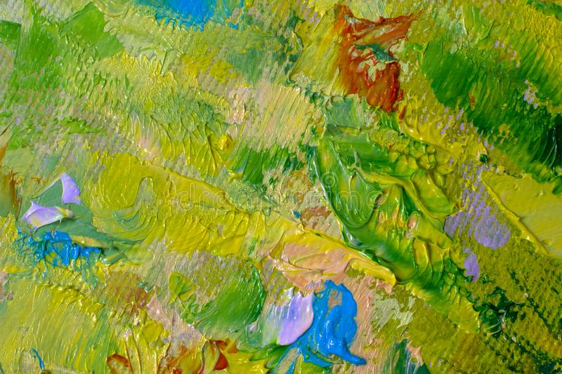 Hand drawn oil painting art background. Oil painting on canvas. Color texture. Fragment of artwork. Spots of paint. Hand drawn oil painting. Green Abstract art stock image