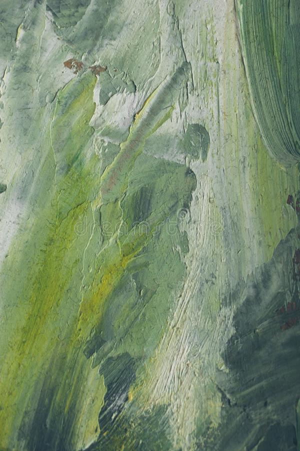 Hand drawn oil painting. Green abstract background. Oil painting on canvas. Green and yellow texture stock photos
