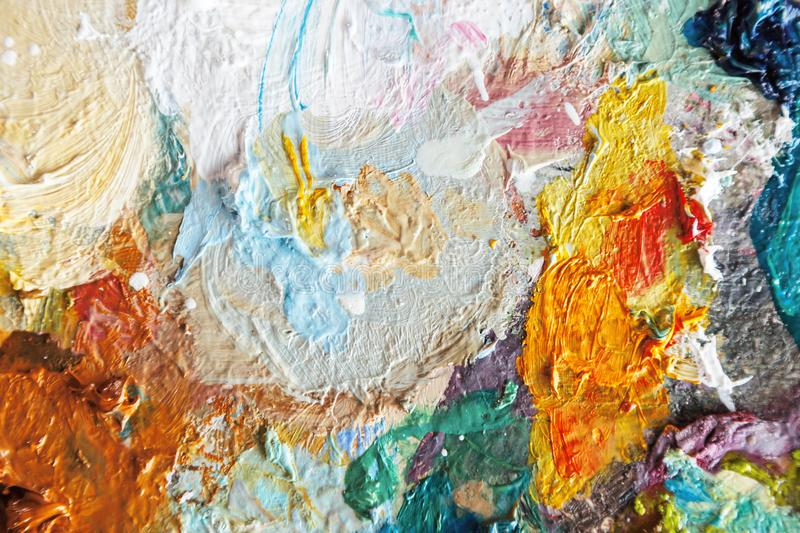 Hand Drawn Oil Painting. Abstract art background, oil painting on canvas, color texture, fragment of artwork, spots of paint, brushstrokes of paint, modern art stock image