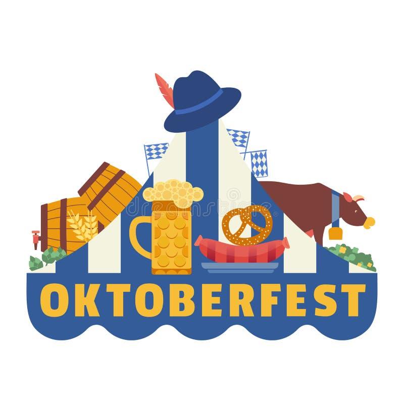 Hand drawn Oktoberfest flat color vector icon. Oktoberfest fair event celebration design element. Bavarian beer festival. Traditional beer mug, pretzel royalty free illustration