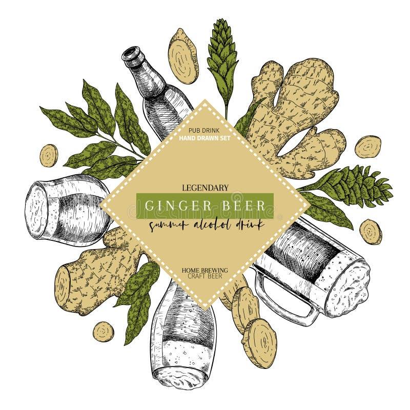 Hand drawn Oktoberfest pub poster. Ginger ale beer. Vector glass, bottle, ginger root, sliced, flower and leaves. Bar. Alcohol beverages. Craft brewery Discount vector illustration
