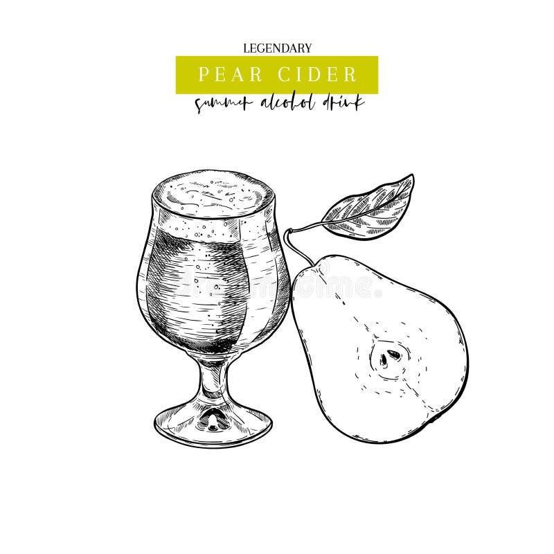 Hand drawn Oktoberfest pub poster. Pear cider beer. Vector glass and sliced pear, leaf. Bar alcohol beverages. Craft. Brewery Discount banner festival menu vector illustration