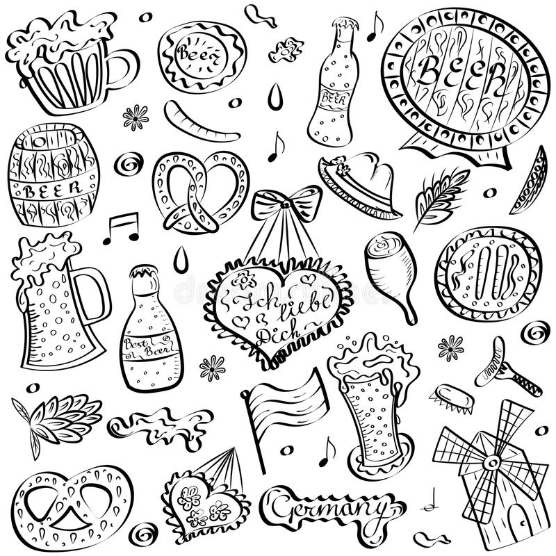 Hand Drawn Oktoberfest Symbols. Funny Drawings of Beer Cups stock illustration