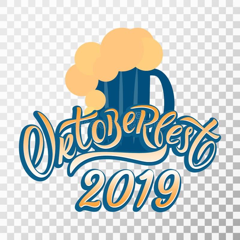 Hand drawn Oktoberfest typography lettering poster. Hand drawn Oktoberfest 2019 typography lettering poster. Illustration of Bavarian festival design.Blue vector illustration