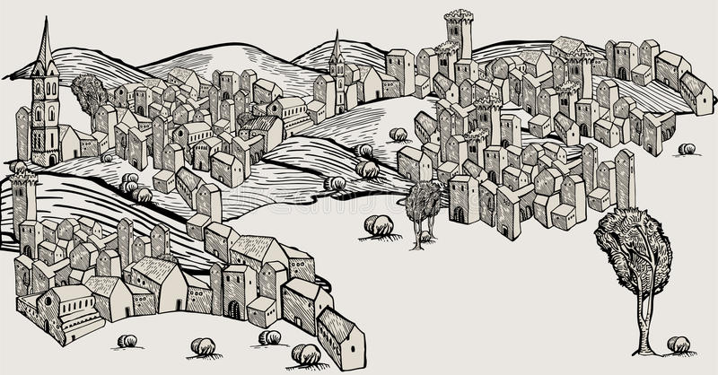 Hand drawn old city. Ungroupable vector houses