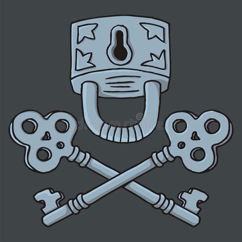 Download Jolly Roger Padlock With Keys Stock Vector - Illustration of antique, locksmith: 29968930