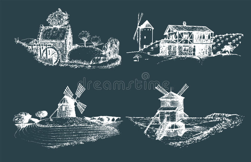 Hand drawn old rustic mills images.Vector rural landscape illustrations set. European countryside sketches for posters. vector illustration