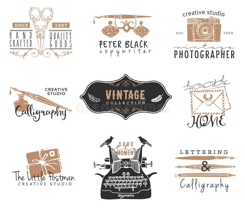 Hand drawn old stationery logo templates. Vintage style design. Elements. Ink decorative illustrations stock illustration