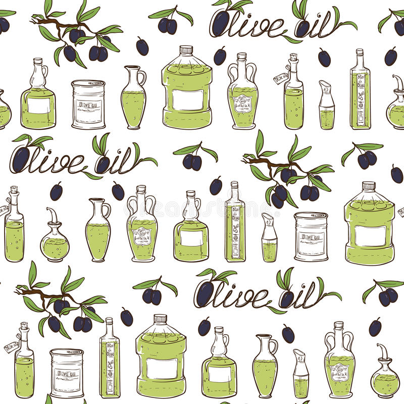 Hand Drawn Olive Oil Seamless Pattern vector illustration