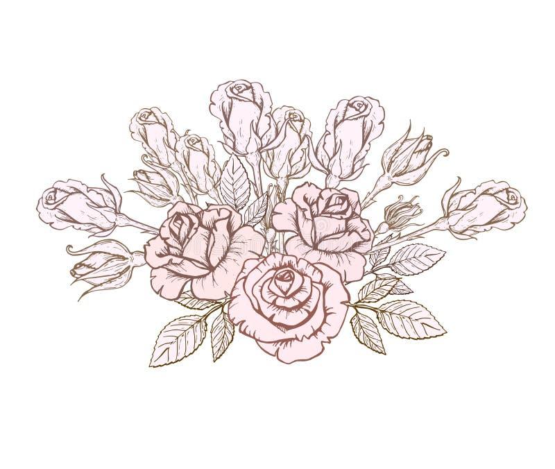 Hand-drawn ontwerp groetkaart en uitnodiging van het huwelijk, verjaardag, de Dag van Valentine, het boeket van de de dagvakantie stock illustratie