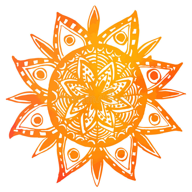 Hand drawn orange watercolor tribal sun. Vector stock illustration