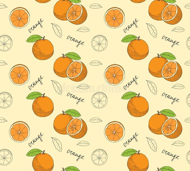 Hand drawn oranges seamless pattern. stock illustration