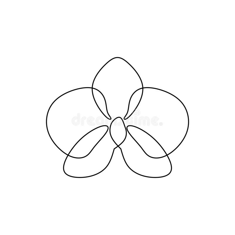 Hand drawn orchid flower. One line drawing continuous illustration vector. Minimalist art design of minimalism on white background. Decoration, botanical stock illustration