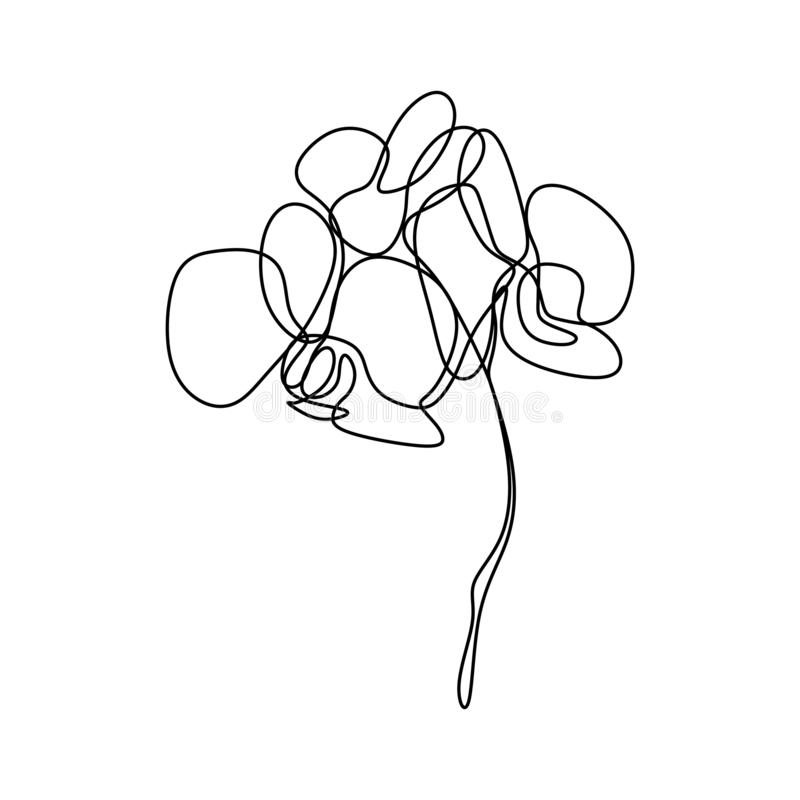 Hand drawn orchid flower. One line drawing continuous illustration vector. Minimalist art design of minimalism on white background. Nature, decoration, logo stock illustration