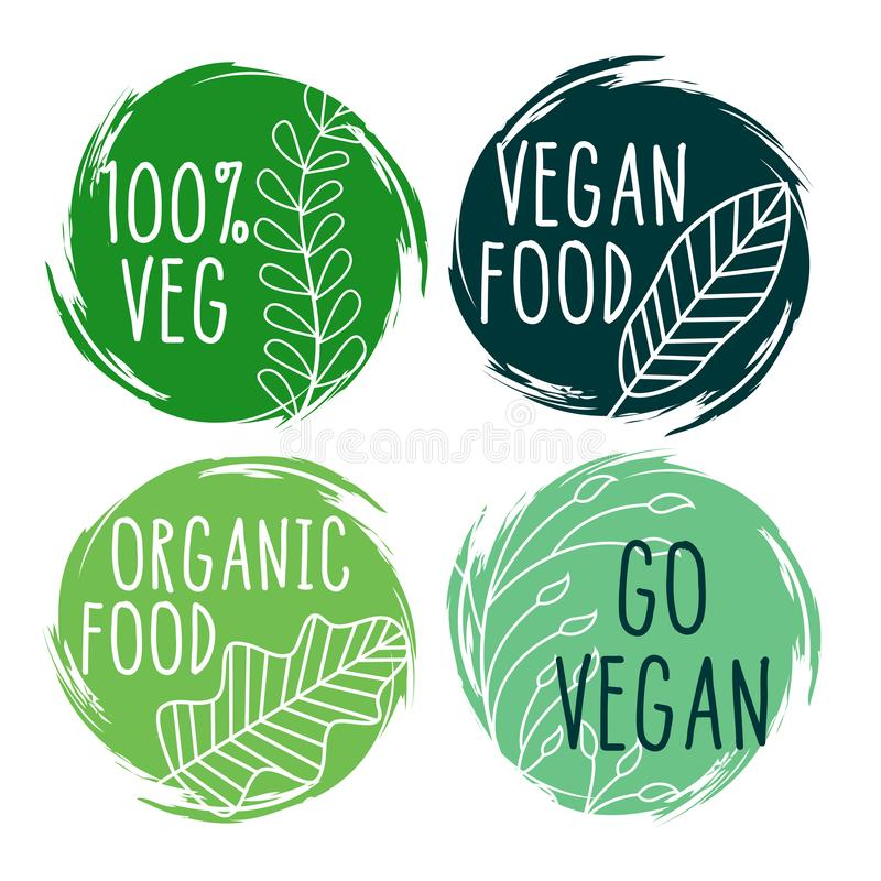 Hand drawn organic vegan food labels and symbols. Vector stock illustration
