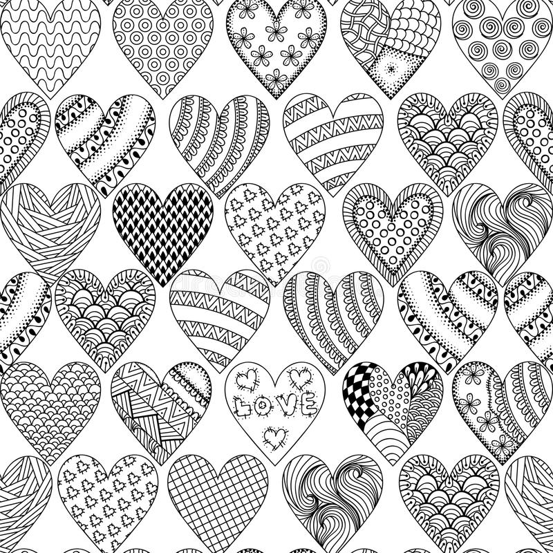 Hand drawn ornamental heart with love in doodle, zentangle tribal style, seamless pattern for adult coloring pages, card for St. royalty free illustration