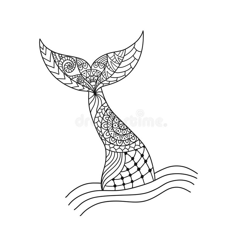 Hand drawn ornamental mermaid`s tail. Vector illustration isolated on white background. Outline graphic tattoo. Coloring book page for adult antistress vector illustration