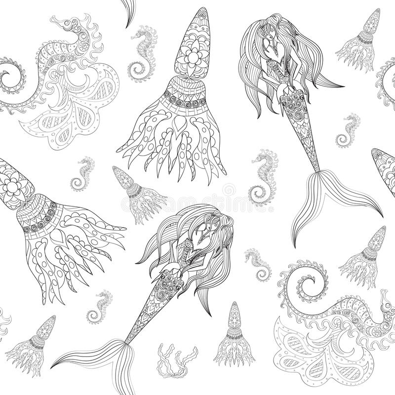 Hand drawn Ornamental Mermaid, sea-horse and calmar, seamless, Mermaid dark pattern, Girl with tall in tribal. Doodle vector illustration