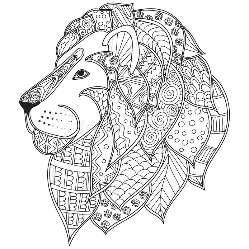 Hand Drawn Ornamental Outline Lion Head Illustration ...Lion Head Coloring Pages For Adults