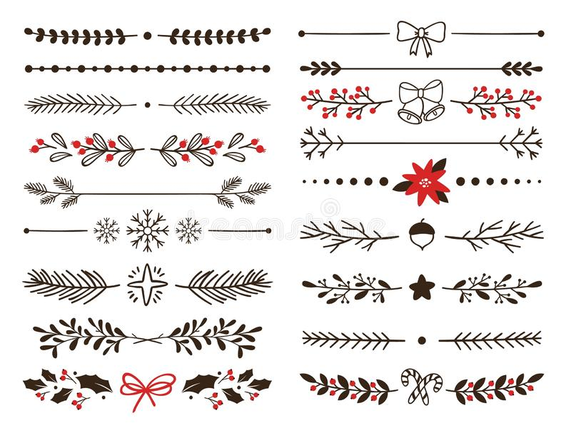 Hand drawn ornamental winter dividers. Snowflakes borders, Christmas holiday decor and floral ornate dividers vector set. Hand drawn ornamental winter dividers royalty free illustration