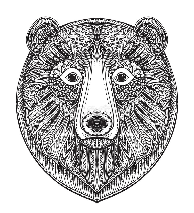 Free Hand Drawn Ornate Doodle Graphic Black And White Bear Face. Stock Photos - 71808693