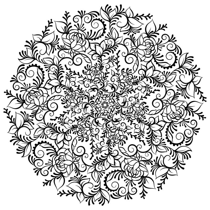 Hand drawn ornate fantasy flower in the crown of leaves and swirls. Isolated Vector illustration. Flower mandala royalty free illustration