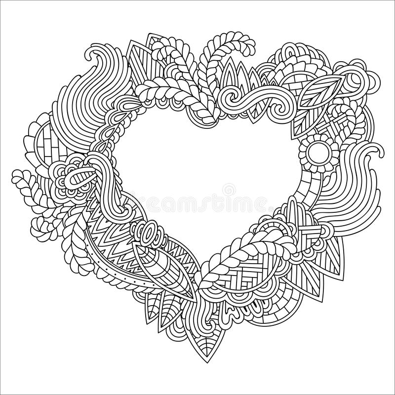 Hand drawn ornate heart for adult anti stress. Coloring page with high details isolated on white background. Zentangle pattern for relax and meditation. Heart vector illustration