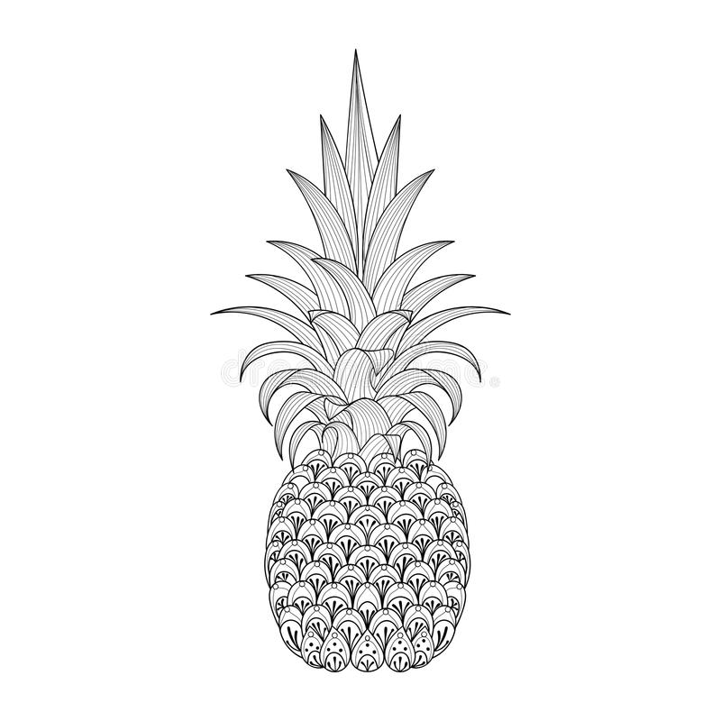 Download Hand Drawn Ornate Pineapple Zentangle Tribal Exotic Fruit For A Stock Vector