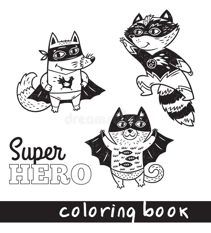 Hand drawn outline cartoon animals in superheroes costume royalty free illustration