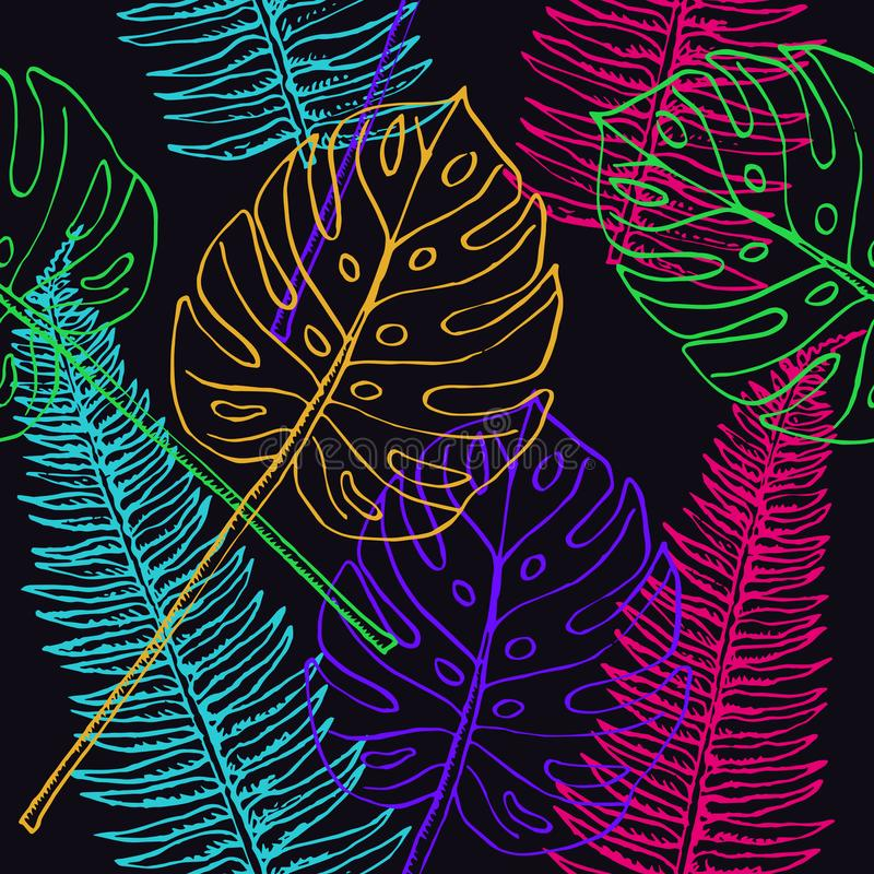 Fern Frond and Split Philodendrom colorful leaves vector illustration