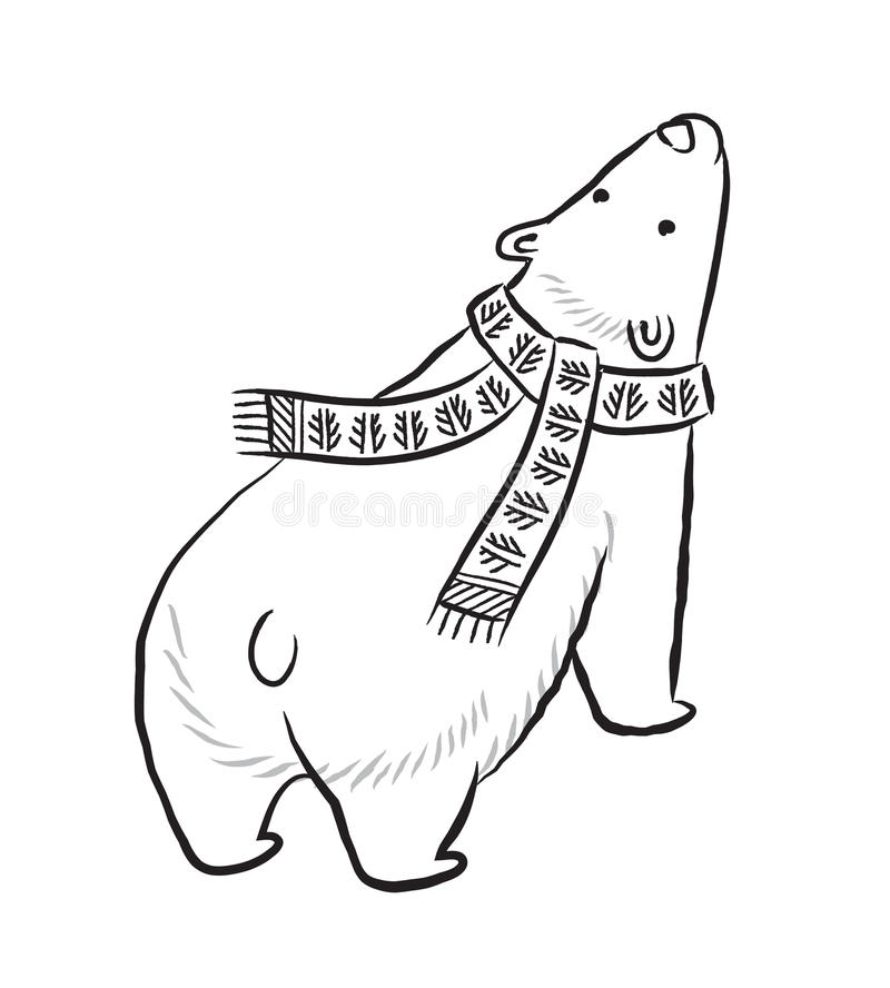 Hand drawn outline print with polar bear in winter scarf. Vector hand drawn print with polar bear in black and white colors. Winter illustration. Coloring book royalty free illustration