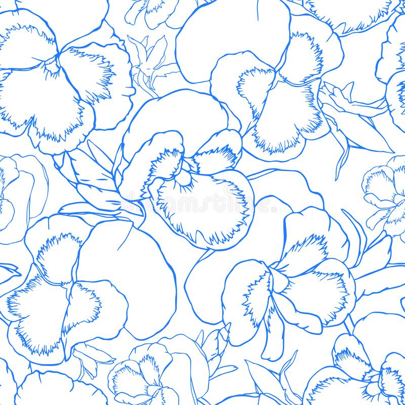 Hand drawn outline viola flowers seamless pattern for fabric, wallpaper and textile design royalty free illustration