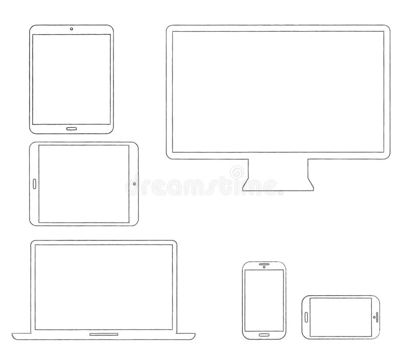 Hand-drawn outlined modern electronic devices stock illustration