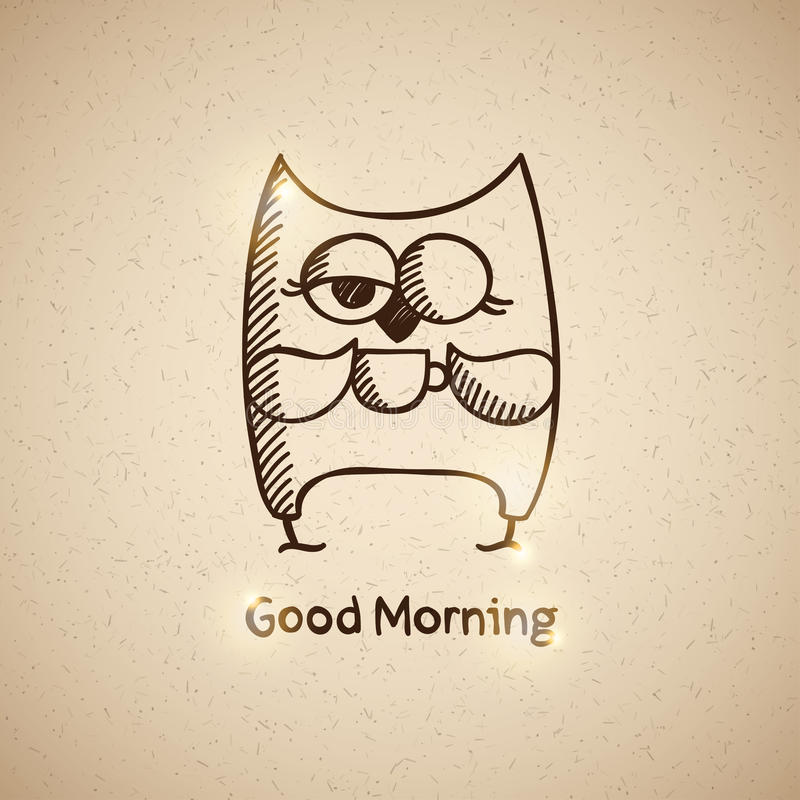 Owl and cup of coffee, vector eps 10 royalty free stock images