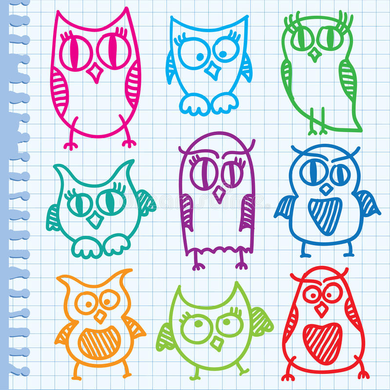 Hand Drawn Owls Stock Image
