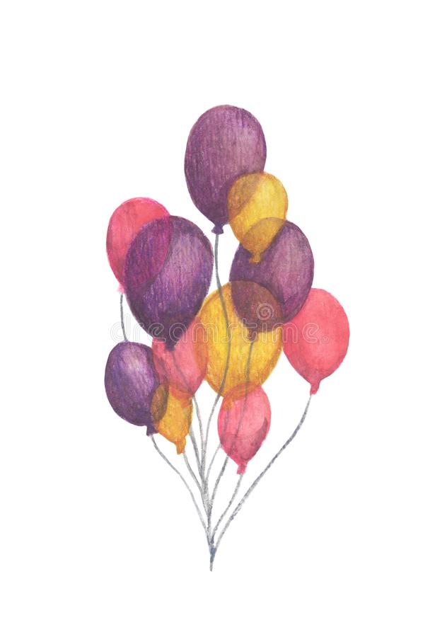 Hand drawn pack of party colorful balloons. vector illustration