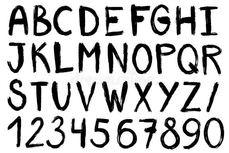 Hand drawn paint brush font. Handwritten alphabet in brush stroke style. Modern lettering in vector. Handmade grunge vector illustration