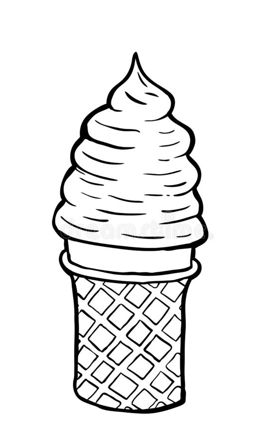 Hand drawn and painted Cream cornet. Hand drawn and painted Cream cornet, vector illustration. Black and white stock illustration