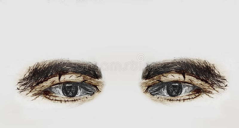 Painted Human Eyes Of A Old Man With Thick Eyebrows - Pencil Sketch And Coloring By Hand. Hand Drawn And Painted Human Eyes Of A Old Man With Thick Eyebrows stock photography