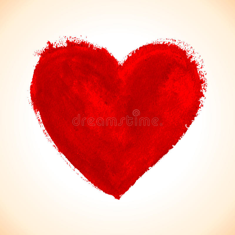 Hand-drawn painted red heart stock illustration