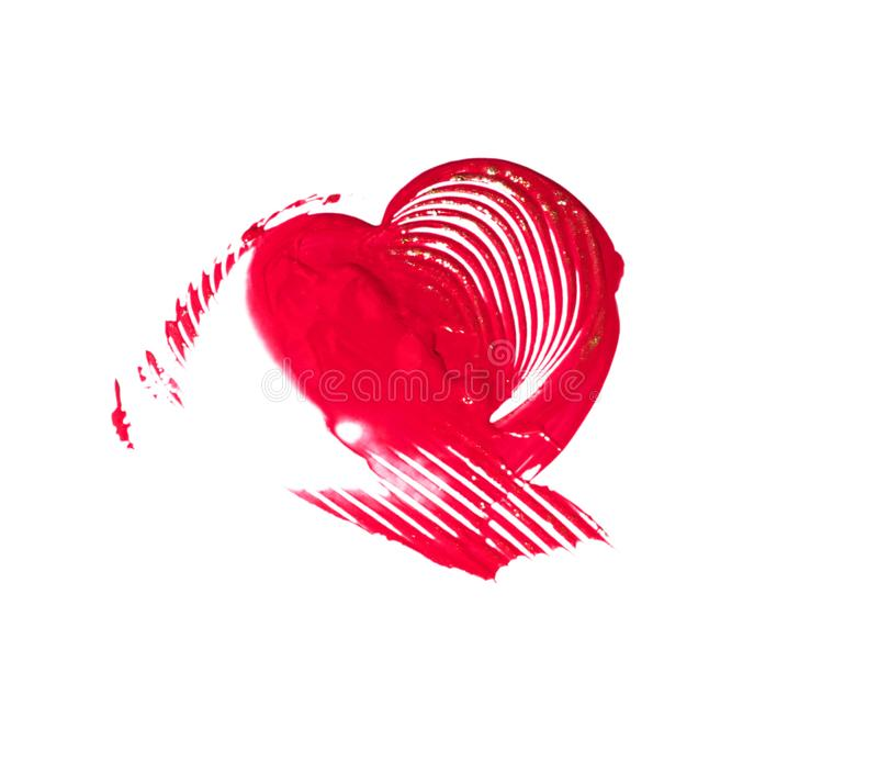 Hand-drawn painted Red heart stock photo