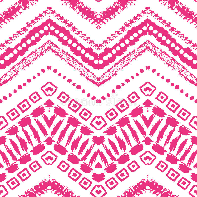 Hand drawn painted seamless pattern. illustration. For tribal design. Ethnic motif. Zigzag and stripe line. Pink and white colors. For invitation, web, textile stock illustration